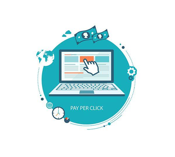 Pay per click flat illustration